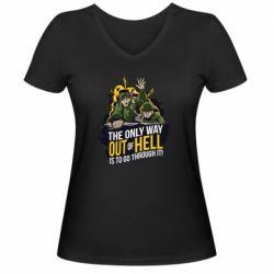Женская футболка с V-образным вырезом Армия