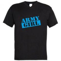Мужская футболка  с V-образным вырезом Army girl