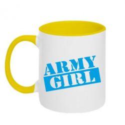 Кружка двоколірна 320ml Army girl
