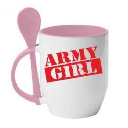 Кружка з керамічною ложкою Army girl
