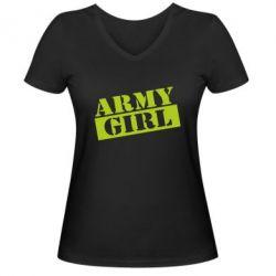 Женская футболка с V-образным вырезом Army girl