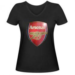 Женская футболка с V-образным вырезом Arsenal 3D - FatLine
