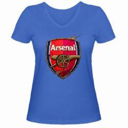 Женская футболка с V-образным вырезом Arsenal Art Logo - FatLine