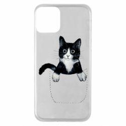 Чехол для iPhone 11 Art cat in your pocket