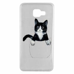 Чехол для Samsung A7 2016 Art cat in your pocket