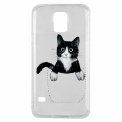 Чехол для Samsung S5 Art cat in your pocket