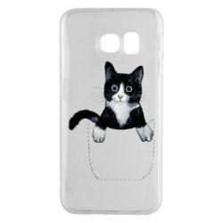 Чехол для Samsung S6 EDGE Art cat in your pocket