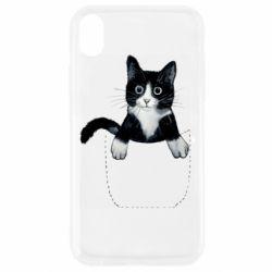 Чехол для iPhone XR Art cat in your pocket