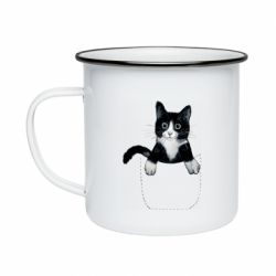 Кружка эмалированная Art cat in your pocket