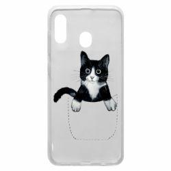 Чехол для Samsung A20 Art cat in your pocket