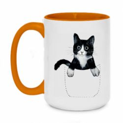 Кружка двухцветная 420ml Art cat in your pocket