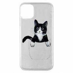 Чехол для iPhone 11 Pro Art cat in your pocket