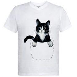 Мужская футболка  с V-образным вырезом Art cat in your pocket