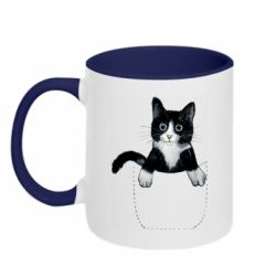 Кружка двухцветная 320ml Art cat in your pocket