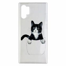 Чехол для Samsung Note 10 Plus Art cat in your pocket