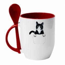 Кружка с керамической ложкой Art cat in your pocket