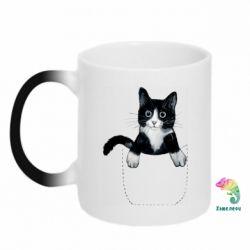 Кружка-хамелеон Art cat in your pocket
