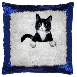 Подушка-хамелеон Art cat in your pocket