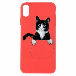 Чехол для iPhone X/Xs Art cat in your pocket