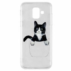 Чехол для Samsung A6 2018 Art cat in your pocket