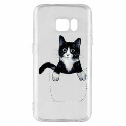 Чехол для Samsung S7 Art cat in your pocket