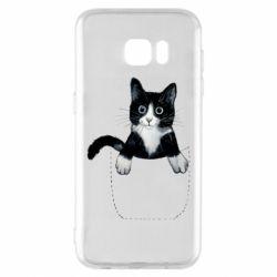 Чехол для Samsung S7 EDGE Art cat in your pocket