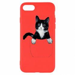 Чехол для iPhone 8 Art cat in your pocket