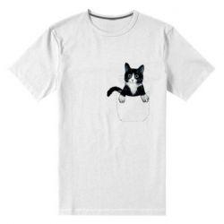Мужская стрейчевая футболка Art cat in your pocket