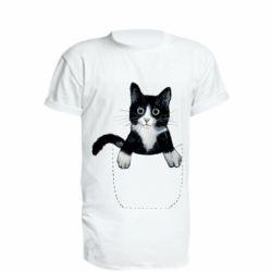 Удлиненная футболка Art cat in your pocket