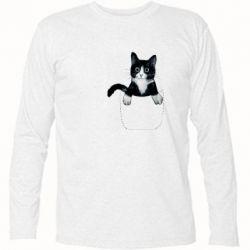 Футболка с длинным рукавом Art cat in your pocket