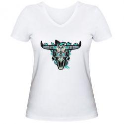 Жіноча футболка з V-подібним вирізом Art horns