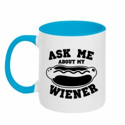 Кружка двоколірна 320ml Ask me about my wiener