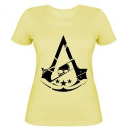 Женская футболка Assassin's Creed and skull 1