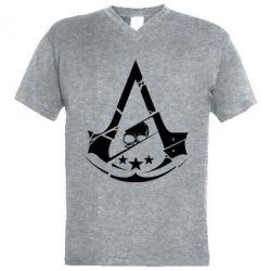 Мужская футболка  с V-образным вырезом Assassin's Creed and skull 1
