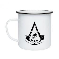 Кружка эмалированная Assassin's Creed and skull 1
