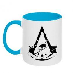 Кружка двухцветная 320ml Assassin's Creed and skull 1