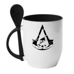 Кружка с керамической ложкой Assassin's Creed and skull 1
