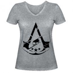 Женская футболка с V-образным вырезом Assassin's Creed and skull 1