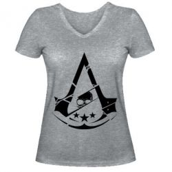 Жіноча футболка з V-подібним вирізом Assassin's Creed and skull 1