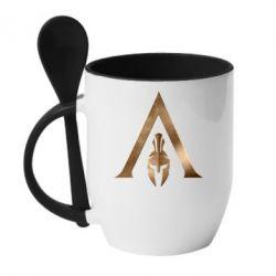 Кружка з керамічною ложкою Assassin's Creed: Odyssey logo
