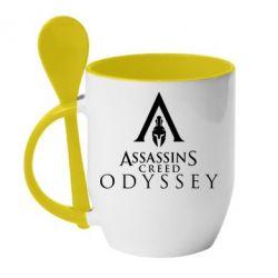 Кружка з керамічною ложкою Assassin's Creed: Odyssey logotype