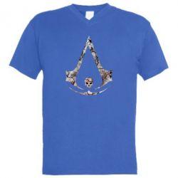 Мужская футболка  с V-образным вырезом Assassins Creed and skull