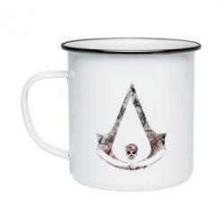 Кружка эмалированная Assassins Creed and skull