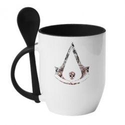 Купить Кружка с керамической ложкой Assassins Creed and skull, FatLine