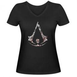 Женская футболка с V-образным вырезом Assassins Creed and skull