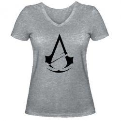 Жіноча футболка з V-подібним вирізом Assassins Creed Logo