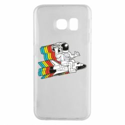 Чохол для Samsung S6 EDGE Astronaut on a rocket with a tape recorder