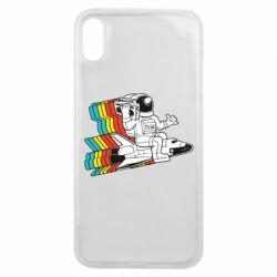 Чохол для iPhone Xs Max Astronaut on a rocket with a tape recorder