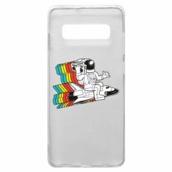 Чохол для Samsung S10+ Astronaut on a rocket with a tape recorder