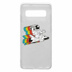 Чохол для Samsung S10 Astronaut on a rocket with a tape recorder